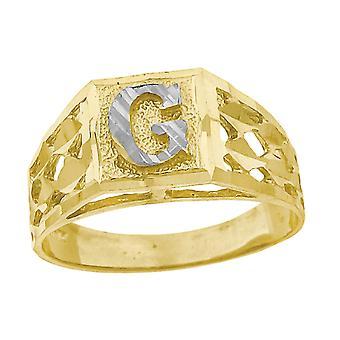 10k Deux tonalitéS Gold bébé pour les garçons ou les fillesNom personnalisé Monogramme initial G Band Ring Measures 6.6x3.50mm Wide S
