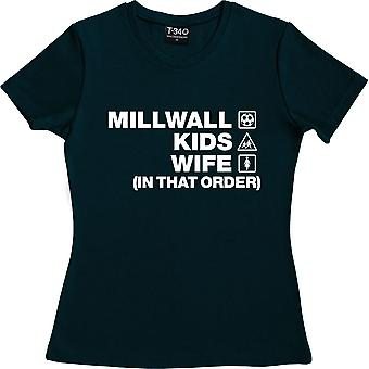 Millwall Kids Wife (In That Order) Navy Blue Women's T-Shirt