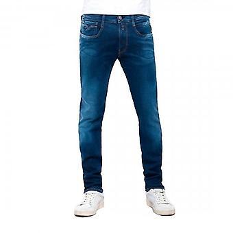 Replay Anbass Hyperflex Super Stretch Surf Blue Edition Denim Jeans MA914Y 661 332 009