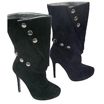 Rascal Round Stud Faux Suede Shoe Boots
