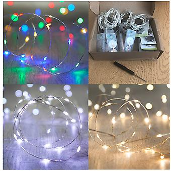 Box of 6 Waterproof Fairy Lights 20 LEDs per String, Choose Mode: ON,SLOW/FAST FLASH, OFF