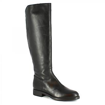 Leonardo Shoes Women's handmade knee high boots in black calf leather side zip