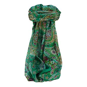 Mulberry Silk Traditional Square Scarf Kuldeep Jade by Pashmina & Silk
