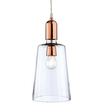 Firstlight Sierra Modern Clear Glass Copper Ceiling Light Pendant