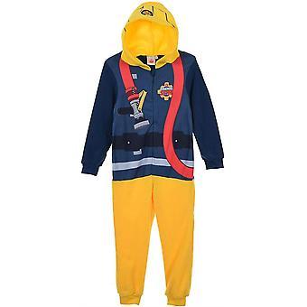 Jungen HS2061 Feuerwehrmann Sam Kapuzen Fleece Schlafanzüge / ein Stück Pyjamas