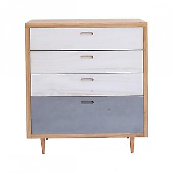 Rebecca Furniture dresser Drawer 4 drawers wood white blue light brown Home Decor Lounge