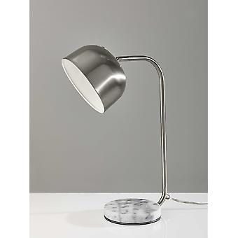 Brushed Steel Metal Adjustable Dome Shade and White Swirled Marble Base Desk Lamp