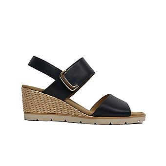 Gabor Porter 751-26 Navy Leather Womens Rip Tape Wedge Sandals