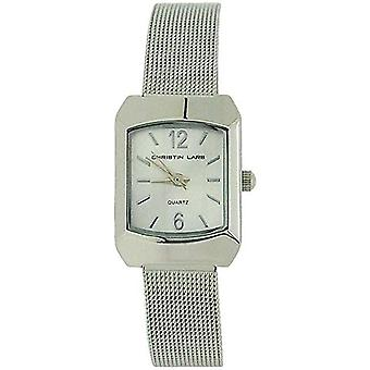 Christin Lars Ladies Silver Sunray Dial All Stainless Steel Mesh Strap Watch