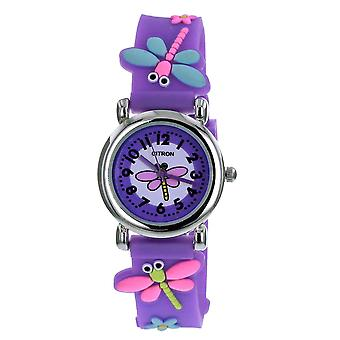 Citron KID163 analoge piger 3D Dragonfly motiff lilla silikone Strap Watch