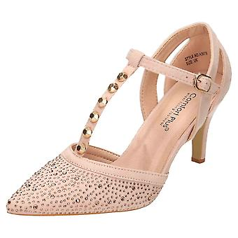 Comfort Plus Nude Wide Fit Heeled T-Bar Court Shoes