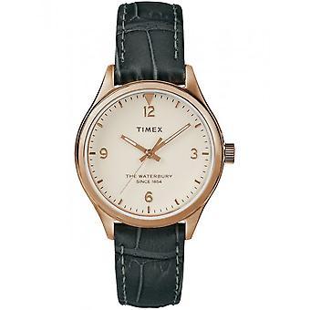 Timex dameshorloge van Waterbury Womens 34 mm lederen armband TW2R69600