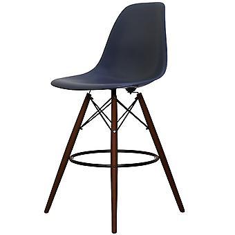 Charles Eames Stil Marine blau Kunststoff Bar Hocker - Walnuss Beine