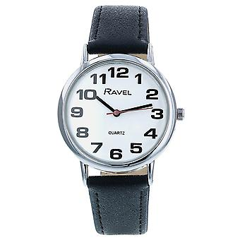 Ravel Classic Analogue Jumbo White Dial Black PU Strap Gents Dress Watch R0105.06.1A