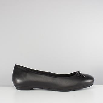 Comfort Plus Angela Ladies Leather Ballerina Shoes Black