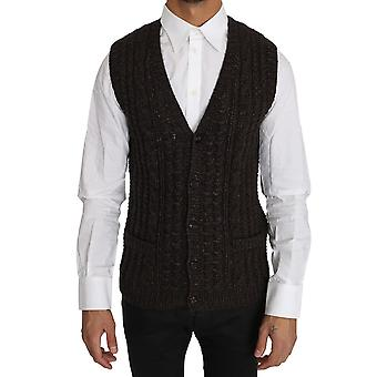 Dolce & Gabbana Brown Knitted Wool Vest Cardigan Sweater