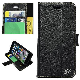 Pour iPhone 8 PLUS,7 PLUS Wallet Case,Card Slots Genuine Cow Leather Cover,Black