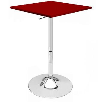 "Set of 4 Modern Home Zeta Contemporary Adjustable Height 24"" Bar Table - Polished Chrome Steel Base Adjusting Belly Table - Adjusts from 28"" to 36"" Tall (Red)"