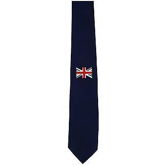 Krawat Michelsons jedwabiu średnia pojedynczy Union Jack London - granatowy/czerwony/biały