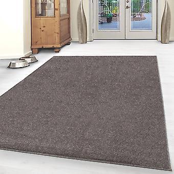 ShortFlor tæppe solid farve Robust Gabbeh Optik Living Room Carpet Mocca Smeltet