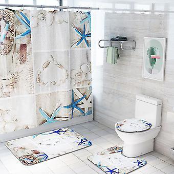 4 Piece Starfish Shower Curtain Set