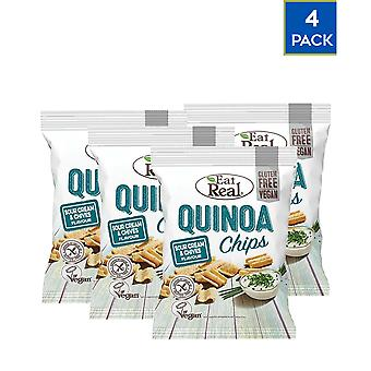 Quinoa Chips Pack 4 Pack 30gr Sauercreme Chives Gluten free Vegan Protein Fiber Tasty Food