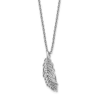 925 Sterling Silver Polished Lobster Claw Closure White Ice Diamond Feather With 2in Ext Necklace 18 Inch Jewelry Gifts