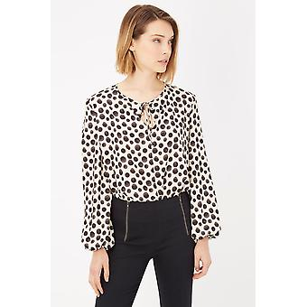 Beige Spotted Body Blouse Round Neck Top