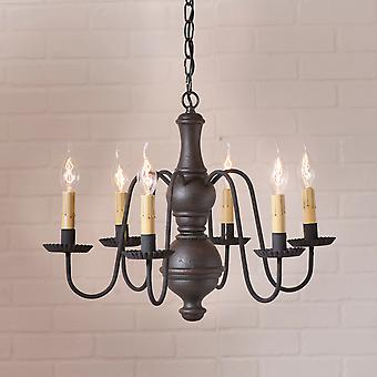 Irvin's Country Tinware Medium Chesterfield Chandelier in Americana Black