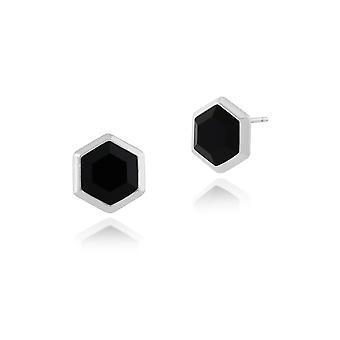 Geometric Hexagon Black Onyx Prism Drop Earrings in 925 Sterling Silver 271E014501925
