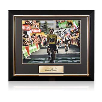 Geraint Thomas Signed Tour De France Photo: Alpe D'Huez Finishing Line. Deluxe Framed