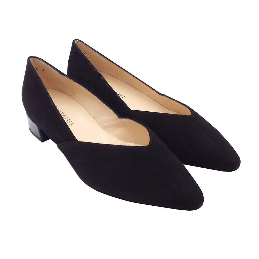Peter Kaiser Shade-a Chic Low Heel Court Shoes In Black Suede Iron