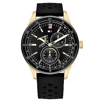 Tommy Hilfiger Watches 1791636 Black Silicon Strap With Gold Detailed Men's Watch