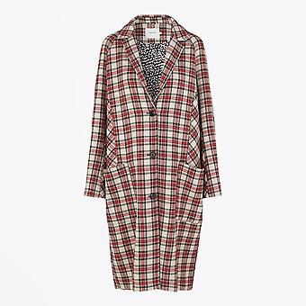 Munthe  - Checked Coat - Red/Beige