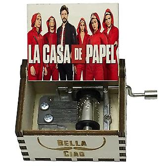 La Casa De Papel Bella Ciao Team Print Hand Crank White Wooden Music Box