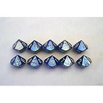 Chessex Gemini 10 x D10 Dice Set - Blue-Steel/white