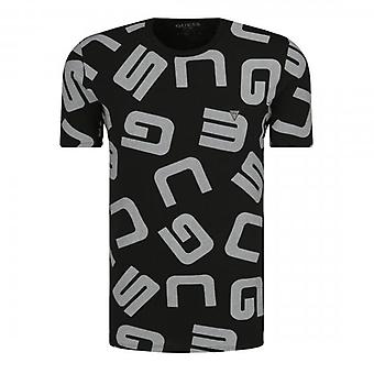 Indovina G Allover Nero Logo Equipaggio Collo T-Shirt M0YI84I3
