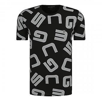 Arvaa G Allover Musta Logo Crew Neck T-paita M0YI84I3Z00