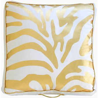 Spura Home Metal Zebra Golden Printed Bean Bag Pillow 20x20 con mango