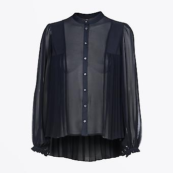 HIGH  - Compliment - Pleated Shirt - Navy