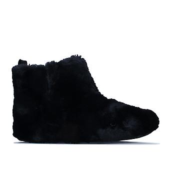 Women's Fit Flop Furry Bootie Slippers in Black