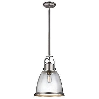Elstead Hobson - 1 luz grande domo colgante satinado de níquel, E27