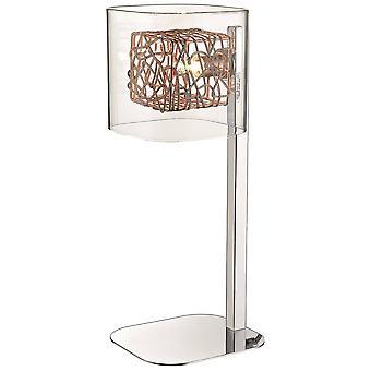 1 Licht tafellamp mesh chroom, koper en glas, G9