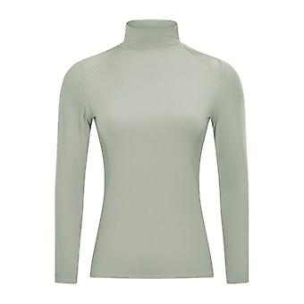 Frauen Yoga Langarm Mesh Mock Turtleneck Top T-Shirt