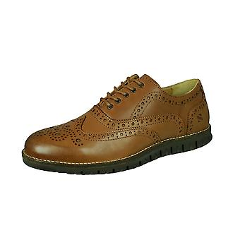 Sledgers Henry Brogue Mens Lace-up Leather Shoes - Tan