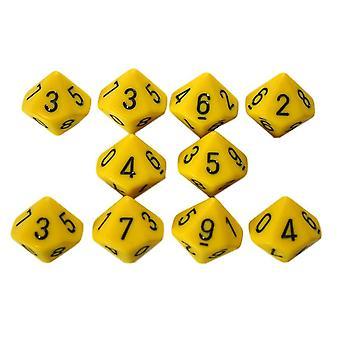 Chessex Opaque 10 x D10 Set - Yellow/black