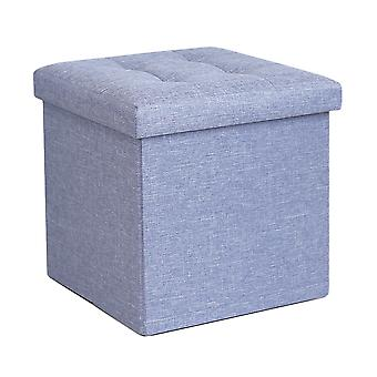 Foldable Fabric Ottoman, Light Blue 38cm