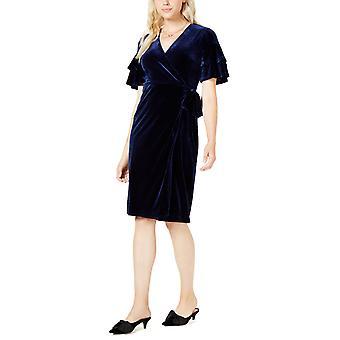 Maison Jules   Samt Wrap Midi Kleid blau