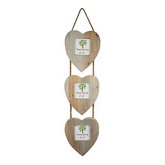 "Nicola Spring 4 x 4 Wooden Hanging Multi 3 Photo Picture Frame - Heart Shaped Frames - Fits 4x4"" Photos - Natural"