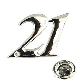Ties Planet Numero 21, 21st Birthday Lapel Pin Merkki Kristalli - Rhodium Plated